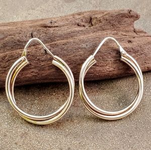 Double Crossover Loop Sterling Hoop Earrings